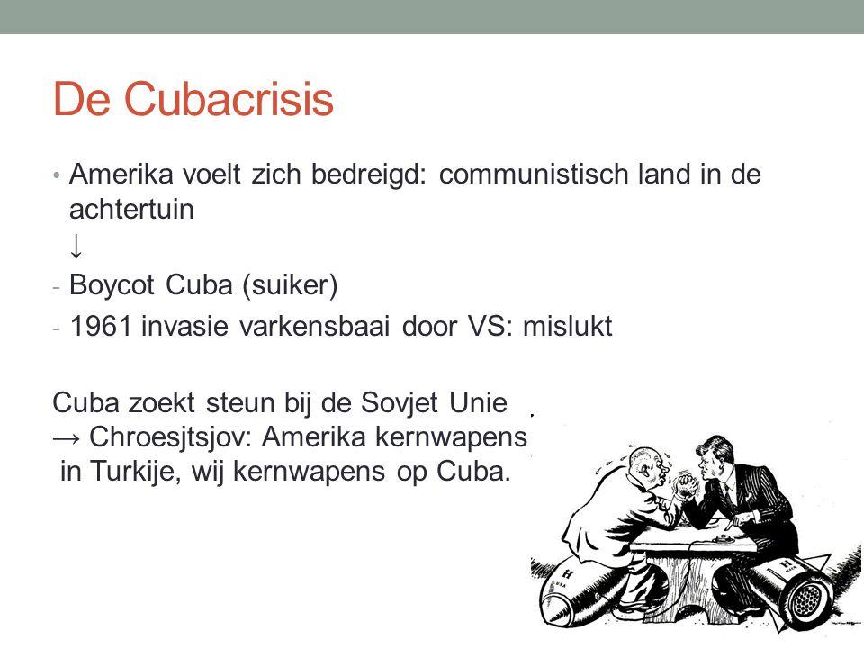 De Cubacrisis Amerika voelt zich bedreigd: communistisch land in de achtertuin ↓ - Boycot Cuba (suiker) - 1961 invasie varkensbaai door VS: mislukt Cu