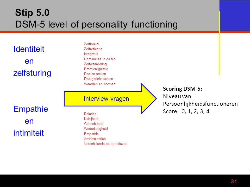 Stip 5.0 DSM-5 level of personality functioning Identiteit en zelfsturing Empathie en intimiteit Zelfbeeld Zelfreflectie Integratie Continuïteit in de