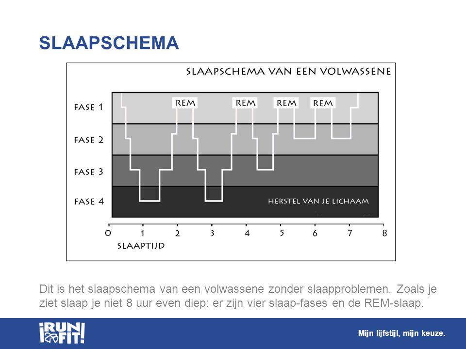 Dit is het slaapschema van een volwassene zonder slaapproblemen. Zoals je ziet slaap je niet 8 uur even diep: er zijn vier slaap-fases en de REM-slaap