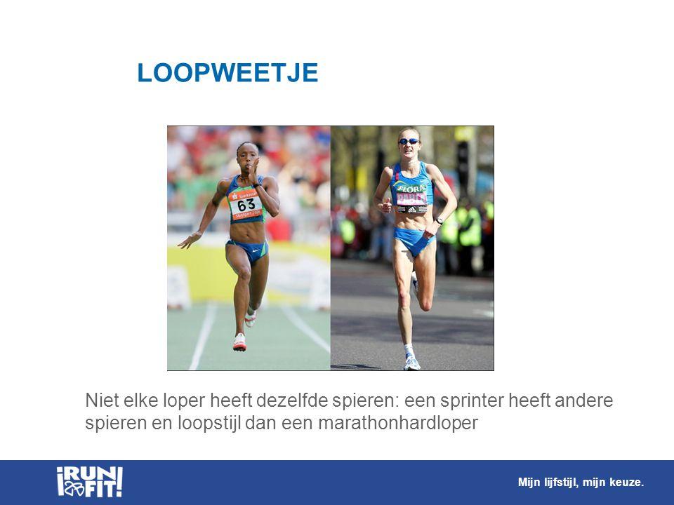 LOOPWEETJE Niet elke loper heeft dezelfde spieren: een sprinter heeft andere spieren en loopstijl dan een marathonhardloper Mijn lijfstijl, mijn keuze