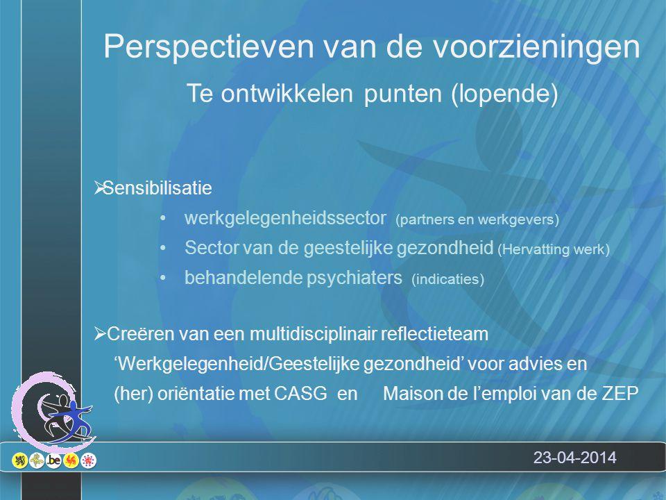 23-04-2014 Perspectieven van de voorzieningen Te ontwikkelen punten (lopende)  Sensibilisatie werkgelegenheidssector (partners en werkgevers) Sector van de geestelijke gezondheid (Hervatting werk) behandelende psychiaters (indicaties)  Creëren van een multidisciplinair reflectieteam 'Werkgelegenheid/Geestelijke gezondheid' voor advies en (her) oriëntatie met CASG en Maison de l'emploi van de ZEP