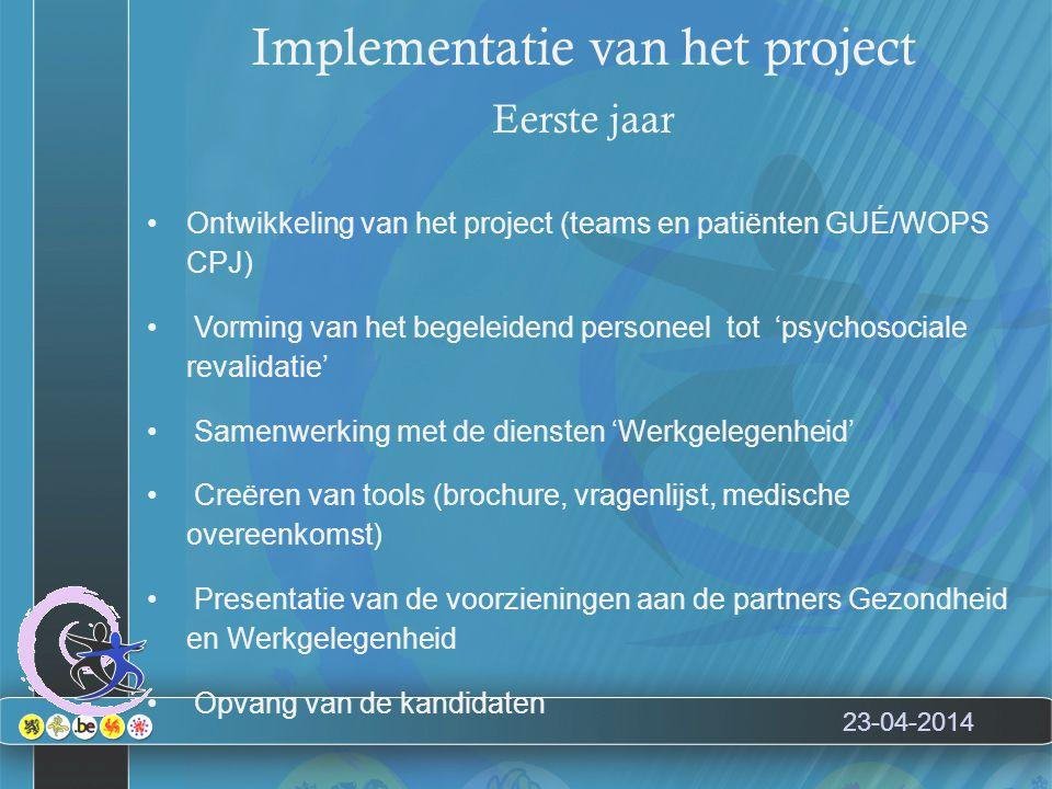 23-04-2014 Implementatie van het project Eerste jaar Ontwikkeling van het project (teams en patiënten GUÉ/WOPS CPJ) Vorming van het begeleidend personeel tot 'psychosociale revalidatie' Samenwerking met de diensten 'Werkgelegenheid' Creëren van tools (brochure, vragenlijst, medische overeenkomst) Presentatie van de voorzieningen aan de partners Gezondheid en Werkgelegenheid Opvang van de kandidaten