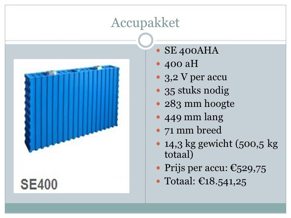 Accupakket SE 400AHA 400 aH 3,2 V per accu 35 stuks nodig 283 mm hoogte 449 mm lang 71 mm breed 14,3 kg gewicht (500,5 kg totaal) Prijs per accu: €529,75 Totaal: €18.541,25