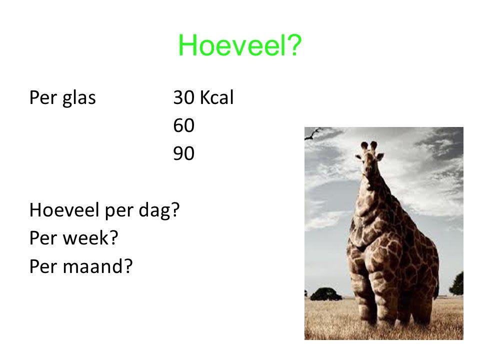 Hoeveel? Per glas30 Kcal 60 90 Hoeveel per dag? Per week? Per maand?