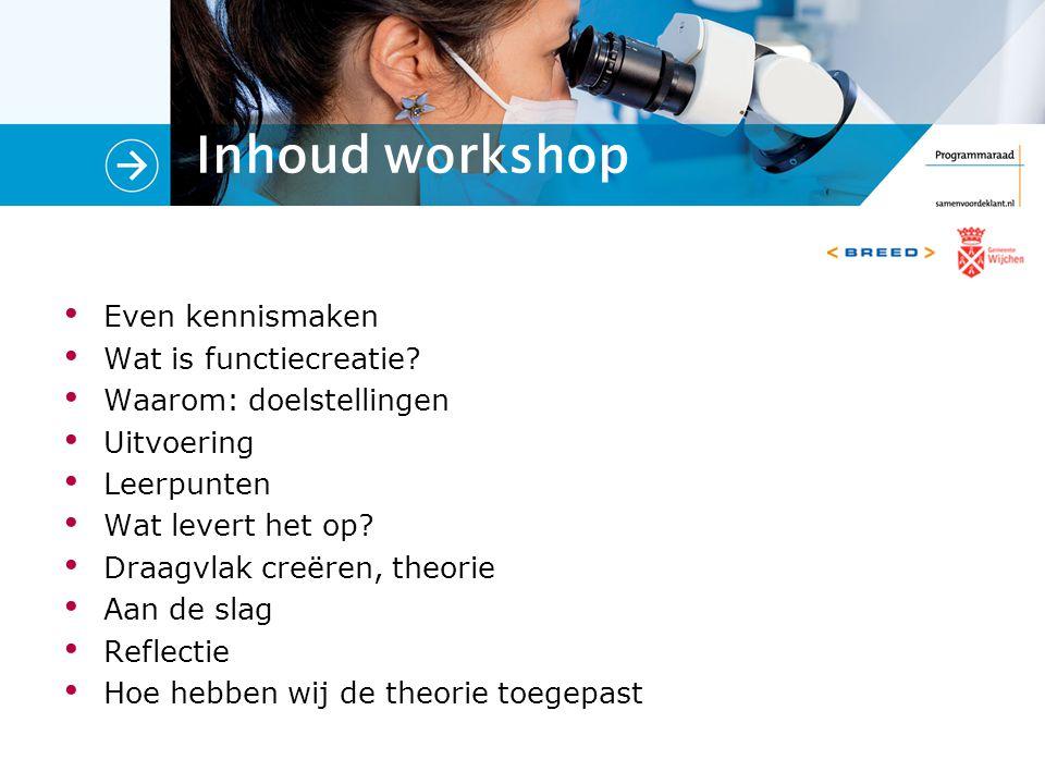 Inhoud workshop Even kennismaken Wat is functiecreatie.