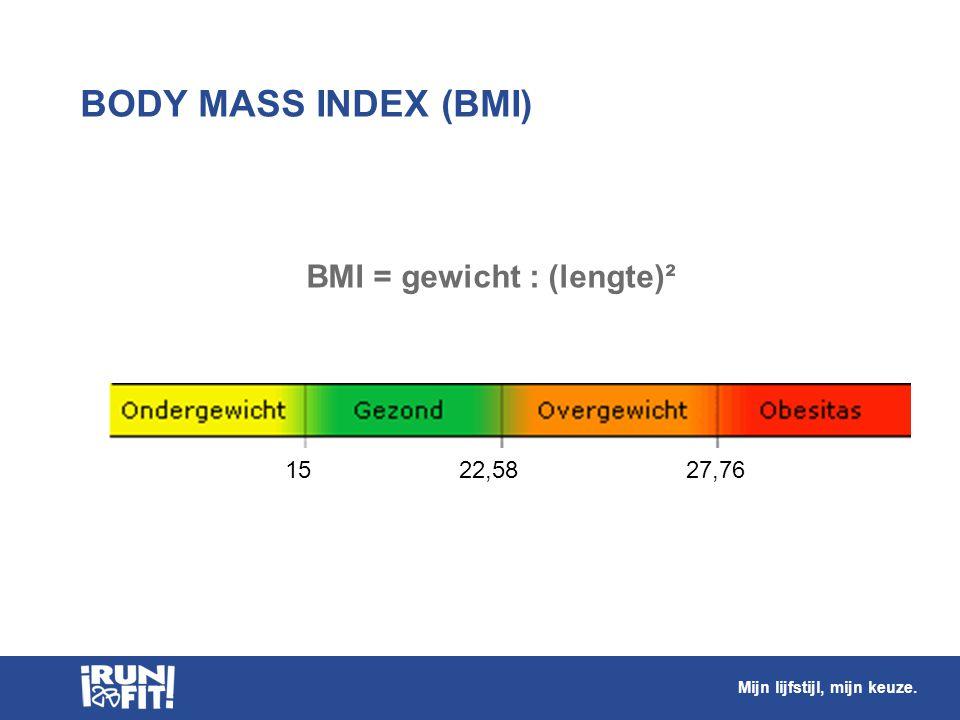 BODY MASS INDEX (BMI) 15 22,58 27,76 BMI = gewicht : (lengte)² Mijn lijfstijl, mijn keuze.