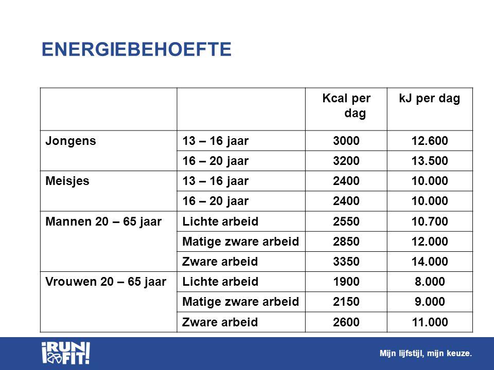 ENERGIEBEHOEFTE Kcal per dag kJ per dag Jongens13 – 16 jaar300012.600 16 – 20 jaar320013.500 Meisjes13 – 16 jaar240010.000 16 – 20 jaar240010.000 Mann