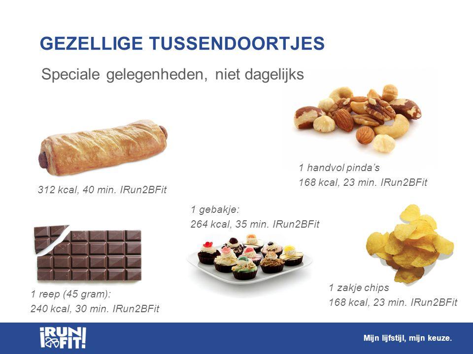 Speciale gelegenheden, niet dagelijks GEZELLIGE TUSSENDOORTJES 312 kcal, 40 min. IRun2BFit 1 gebakje: 264 kcal, 35 min. IRun2BFit 1 reep (45 gram): 24