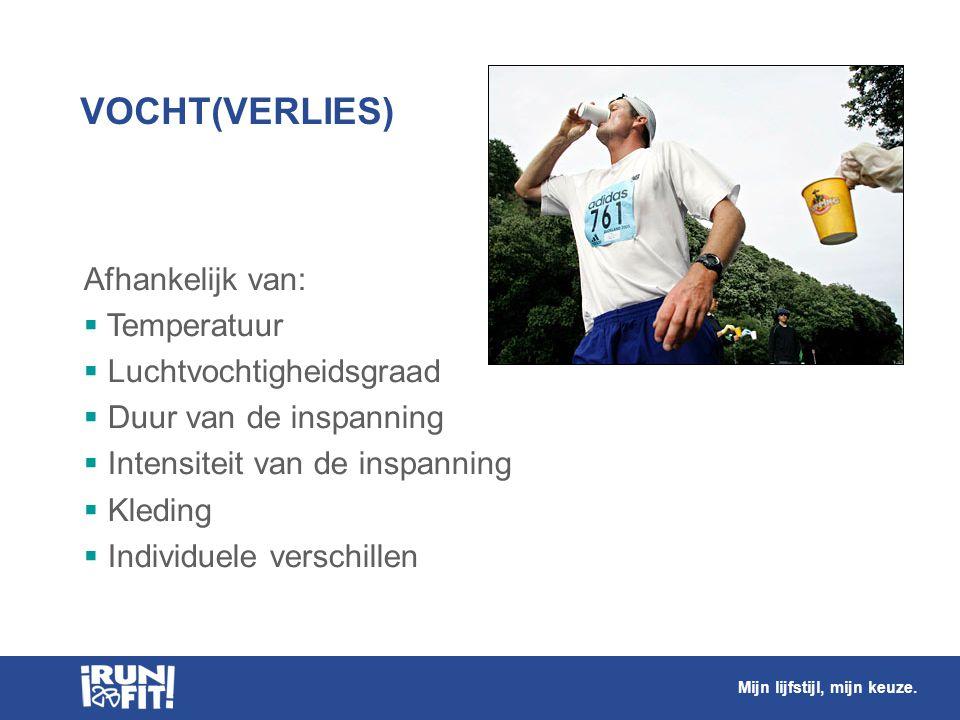 VOCHT(VERLIES) Afhankelijk van:  Temperatuur  Luchtvochtigheidsgraad  Duur van de inspanning  Intensiteit van de inspanning  Kleding  Individuel