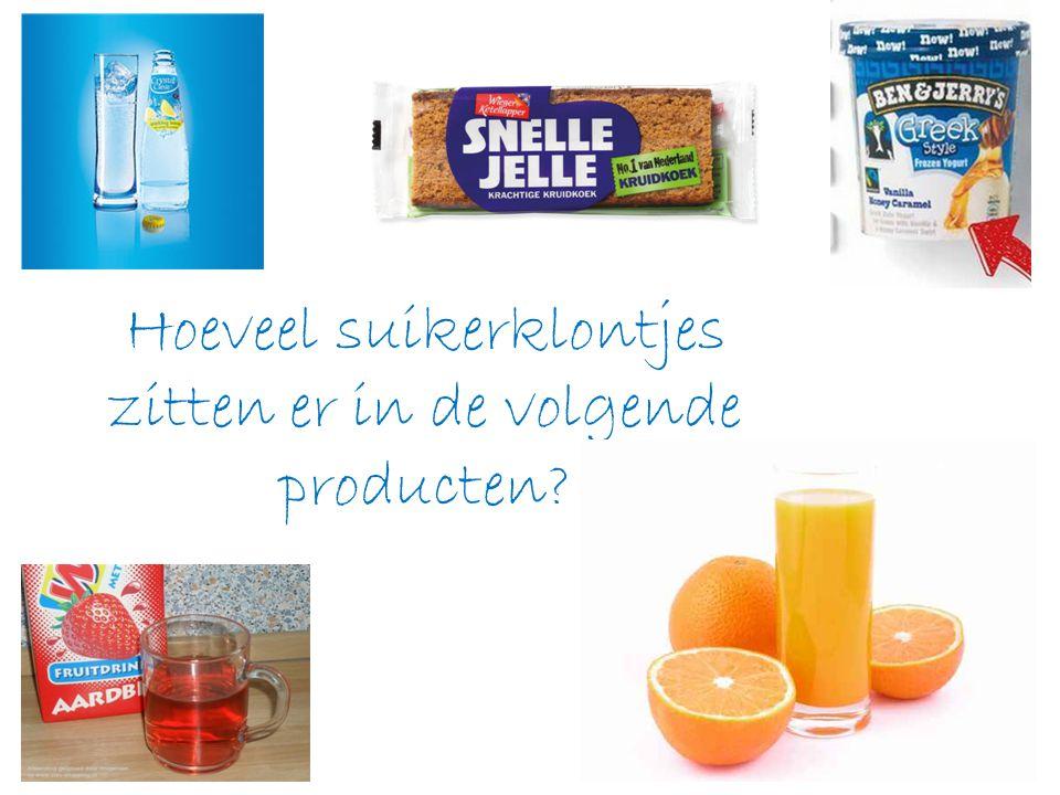 Hoeveel suikerklontjes zitten er in de volgende producten?