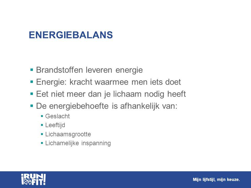 ENERGIEBALANS  Brandstoffen leveren energie  Energie: kracht waarmee men iets doet  Eet niet meer dan je lichaam nodig heeft  De energiebehoefte i
