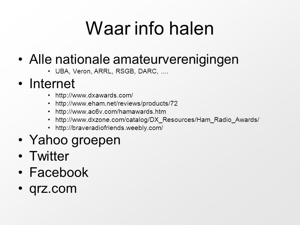 Waar info halen Alle nationale amateurverenigingen UBA, Veron, ARRL, RSGB, DARC,....