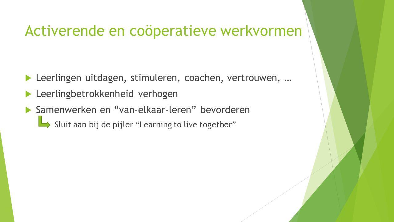 """Activerende en coöperatieve werkvormen  Leerlingen uitdagen, stimuleren, coachen, vertrouwen, …  Leerlingbetrokkenheid verhogen  Samenwerken en """"va"""