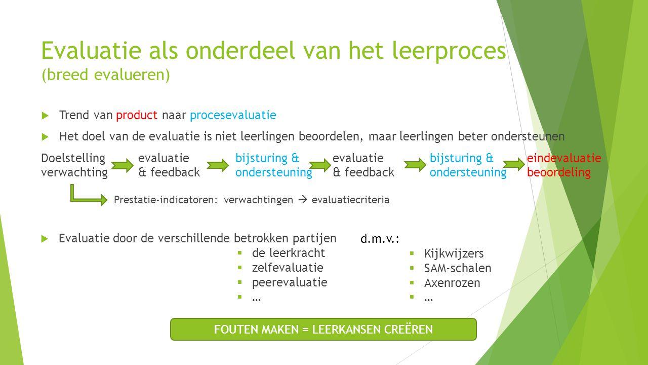Evaluatie als onderdeel van het leerproces (breed evalueren)  Trend van product naar procesevaluatie  Het doel van de evaluatie is niet leerlingen b