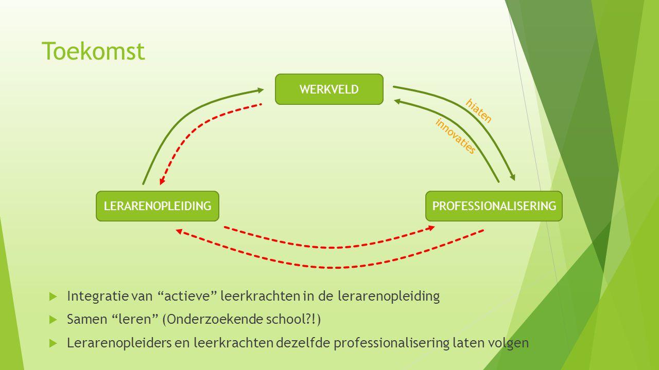 """Toekomst  Integratie van """"actieve"""" leerkrachten in de lerarenopleiding  Samen """"leren"""" (Onderzoekende school?!)  Lerarenopleiders en leerkrachten de"""