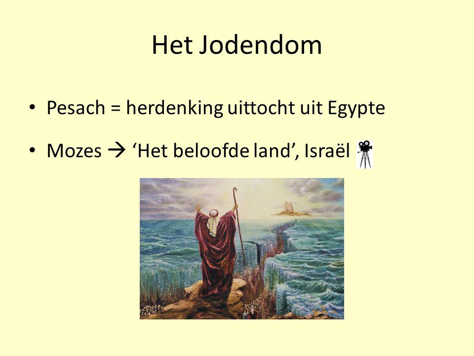 Pesach = herdenking uittocht uit Egypte Mozes  'Het beloofde land', Israël