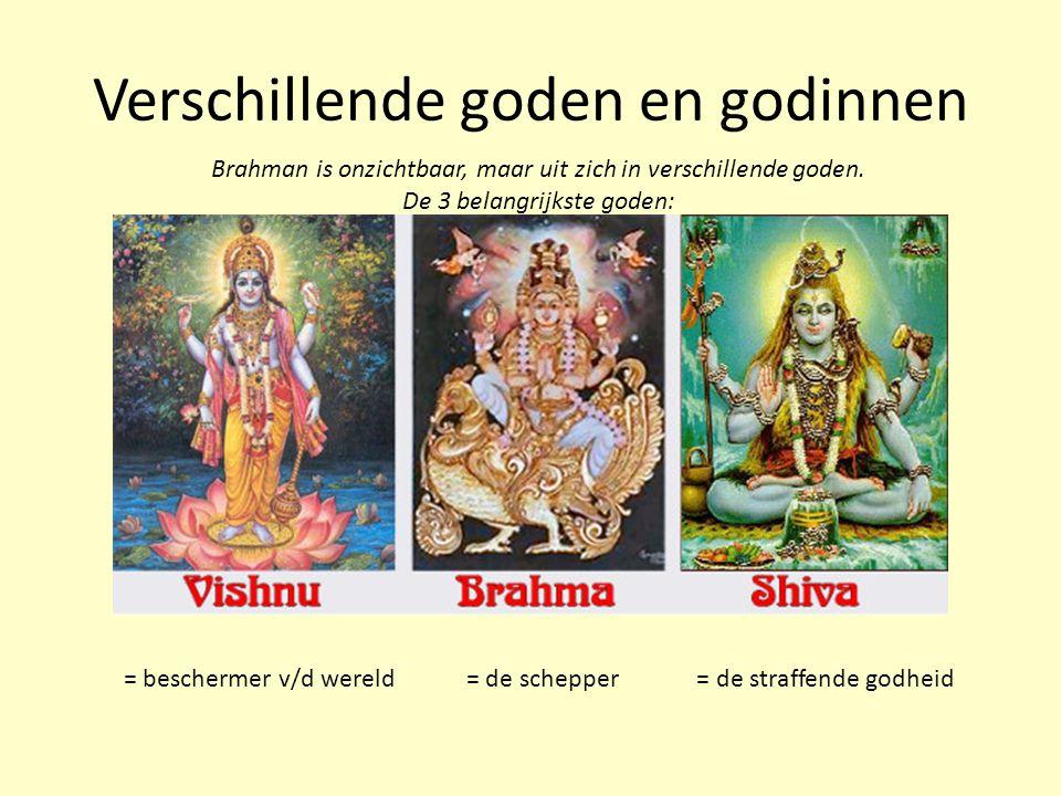 Verschillende goden en godinnen = beschermer v/d wereld = de schepper = de straffende godheid Brahman is onzichtbaar, maar uit zich in verschillende g