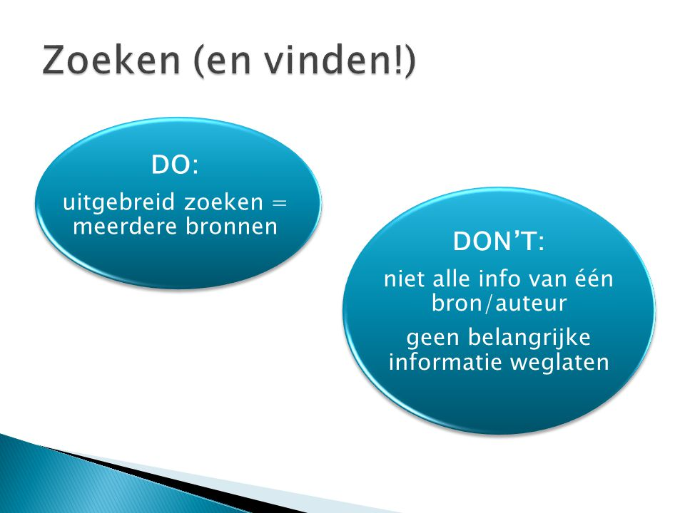 DO: uitgebreid zoeken = meerdere bronnen DON'T: niet alle info van één bron/auteur geen belangrijke informatie weglaten