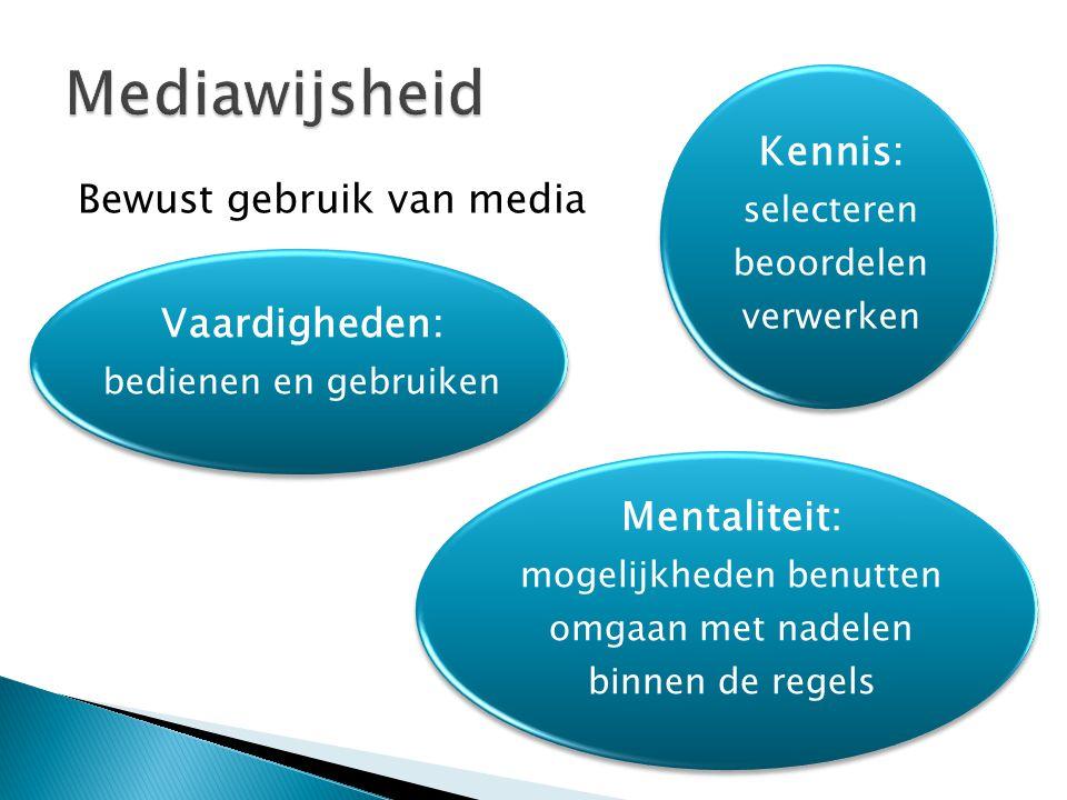 Bewust gebruik van media Kennis: selecteren beoordelen verwerken Vaardigheden: bedienen en gebruiken Mentaliteit: mogelijkheden benutten omgaan met na