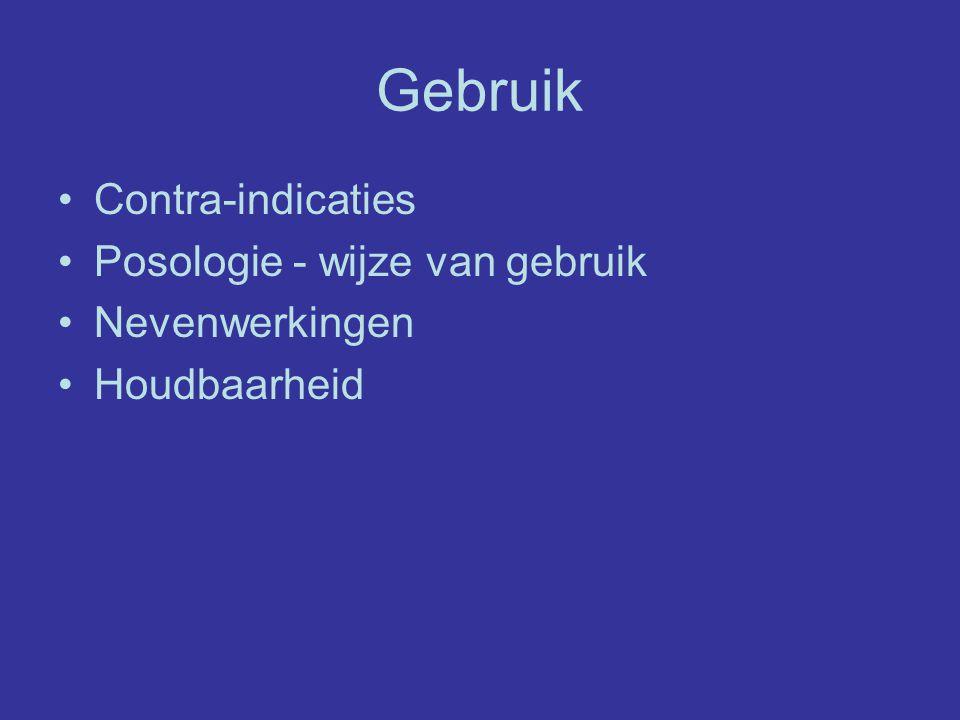 Gebruik Contra-indicaties Posologie - wijze van gebruik Nevenwerkingen Houdbaarheid