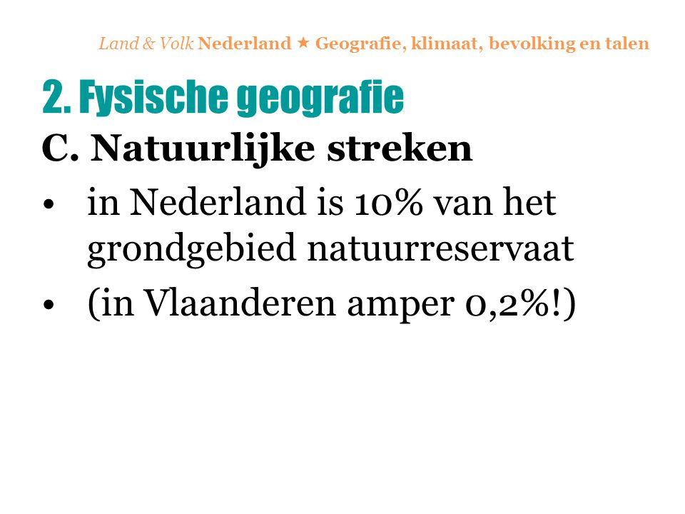 Land & Volk Nederland  Geografie, klimaat, bevolking en talen C. Natuurlijke streken in Nederland is 10% van het grondgebied natuurreservaat (in Vlaa
