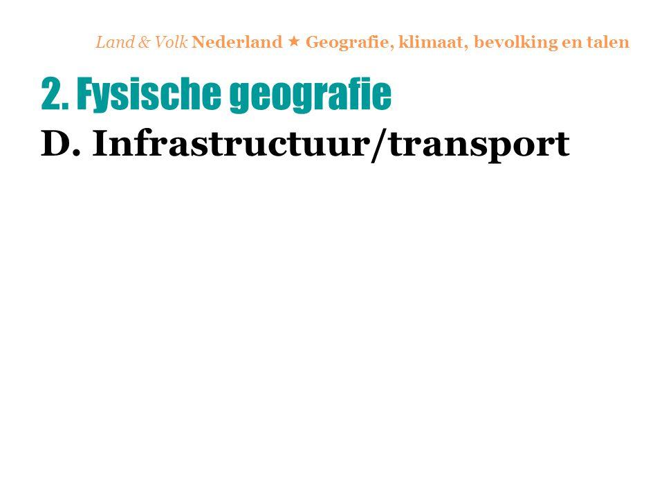 Land & Volk Nederland  Geografie, klimaat, bevolking en talen D. Infrastructuur/transport 2. Fysische geografie