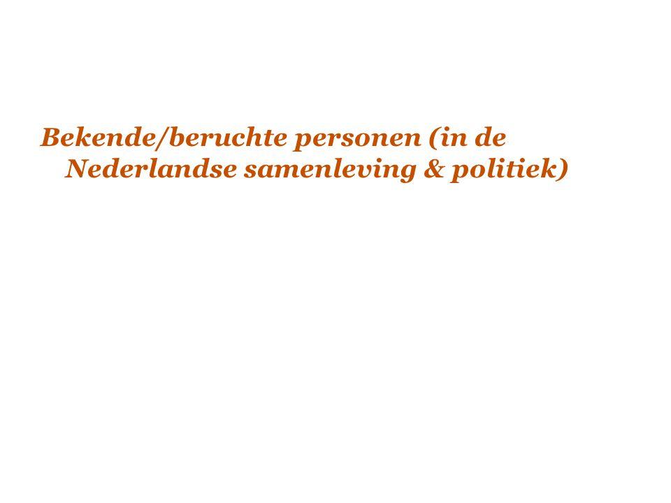 Bekende/beruchte personen (in de Nederlandse samenleving & politiek)