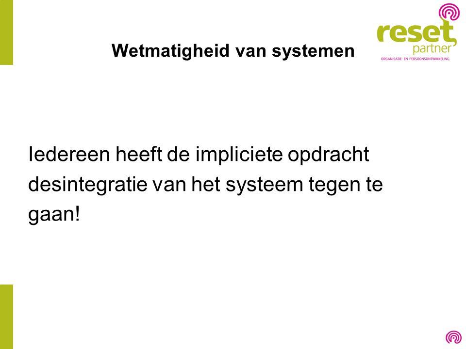 Wetmatigheid van systemen Iedereen heeft de impliciete opdracht desintegratie van het systeem tegen te gaan!