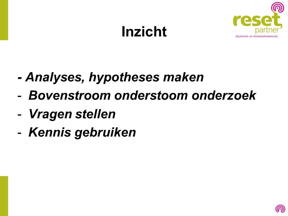 Inzicht - Analyses, hypotheses maken -Bovenstroom onderstoom onderzoek -Vragen stellen -Kennis gebruiken