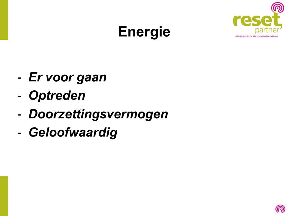 Energie -Er voor gaan -Optreden -Doorzettingsvermogen -Geloofwaardig