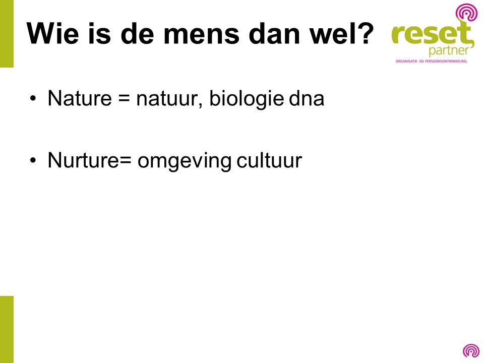 Wie is de mens dan wel? Nature = natuur, biologie dna Nurture= omgeving cultuur