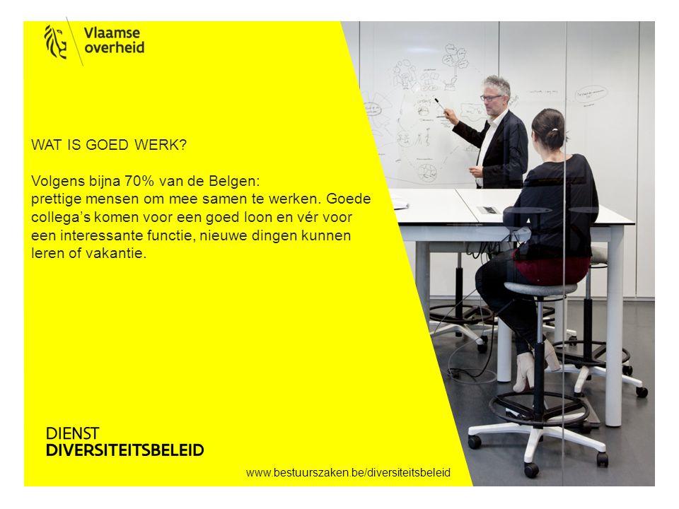 www.bestuurszaken.be/diversiteitsbeleid WAT IS GOED WERK? Volgens bijna 70% van de Belgen: prettige mensen om mee samen te werken. Goede collega's kom