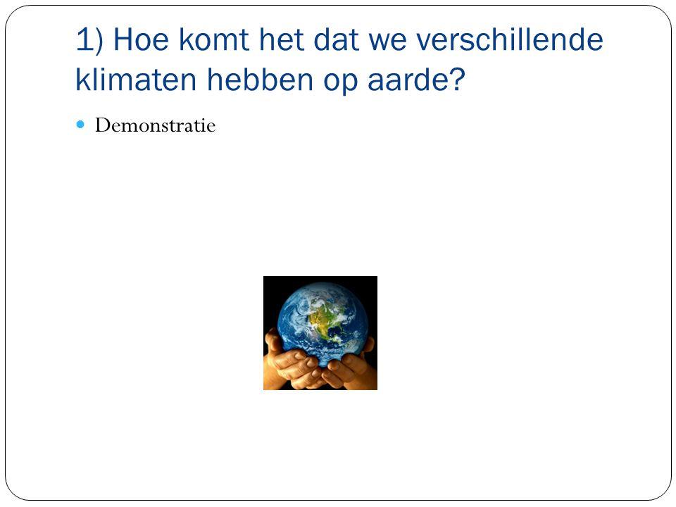 1) Hoe komt het dat we verschillende klimaten hebben op aarde? Demonstratie