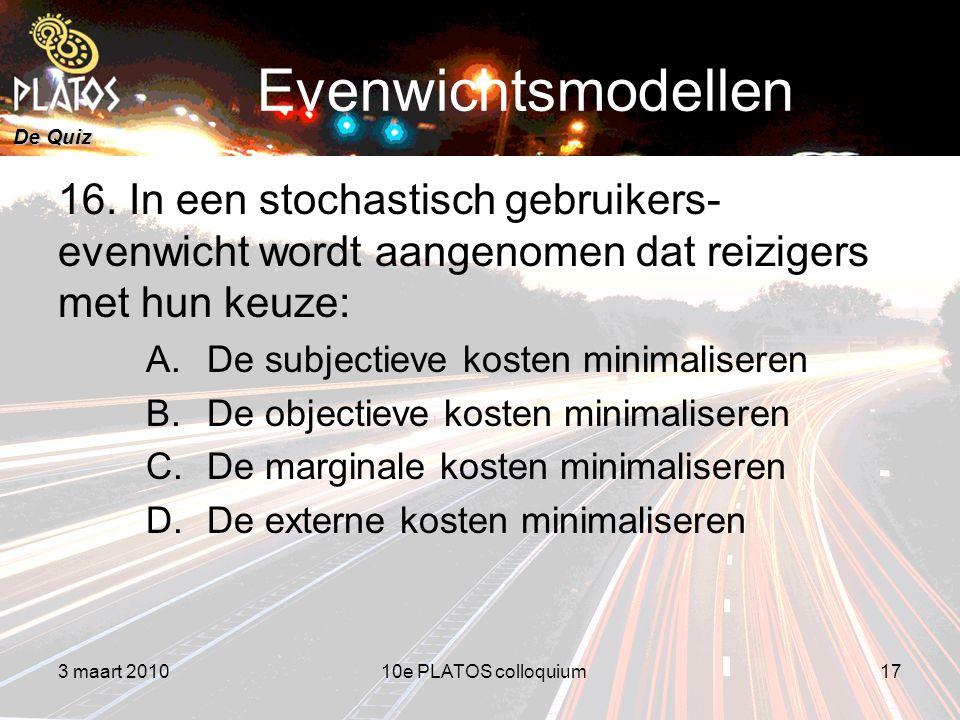 De Quiz Evenwichtsmodellen 16.
