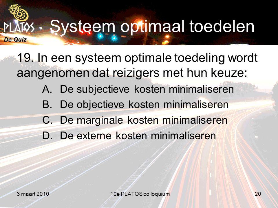 De Quiz Systeem optimaal toedelen 19.