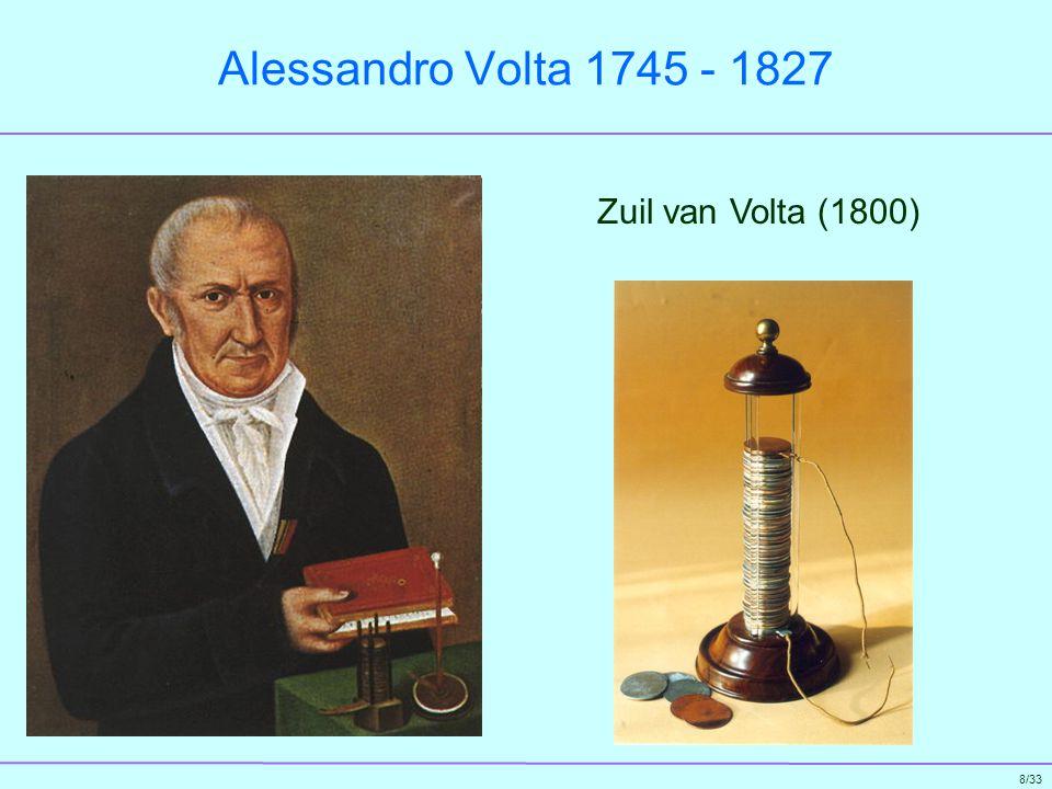 9/33 Humphry Davy 1778 - 1829 Grondlegger van de elektrochemie Elektrolyse (1807) Gloeien van platinadraad (1802) en booglamp (1809)