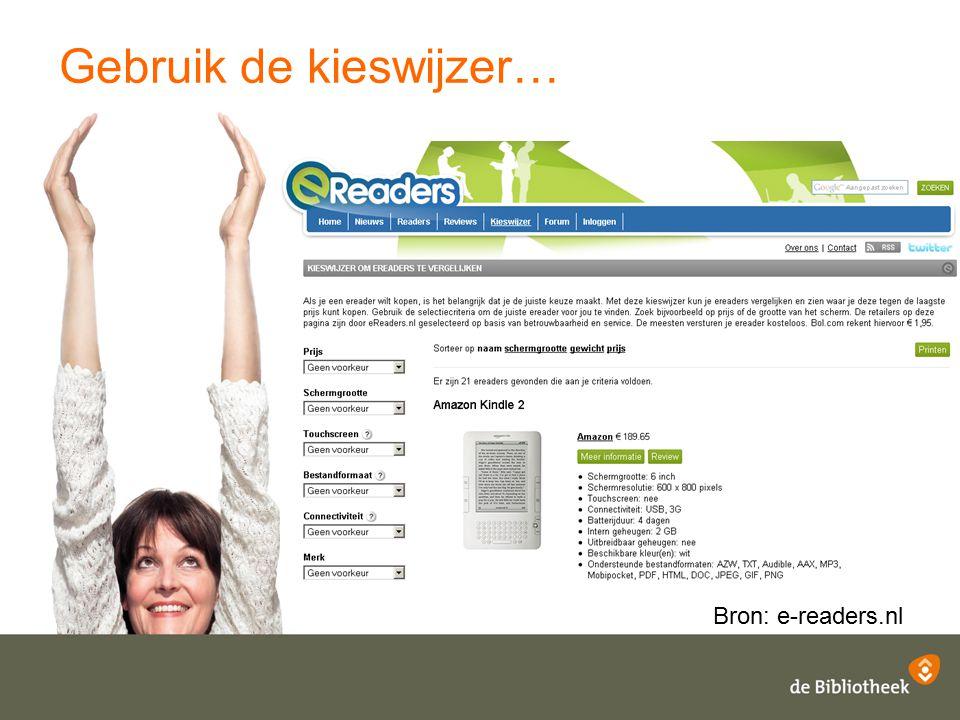 Gebruik de kieswijzer… Bron: e-readers.nl