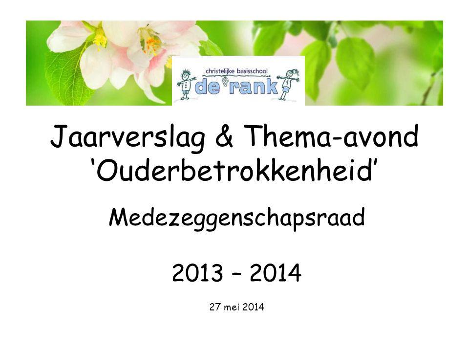 Jaarverslag & Thema-avond 'Ouderbetrokkenheid' Medezeggenschapsraad 2013 – 2014 27 mei 2014 De Rank