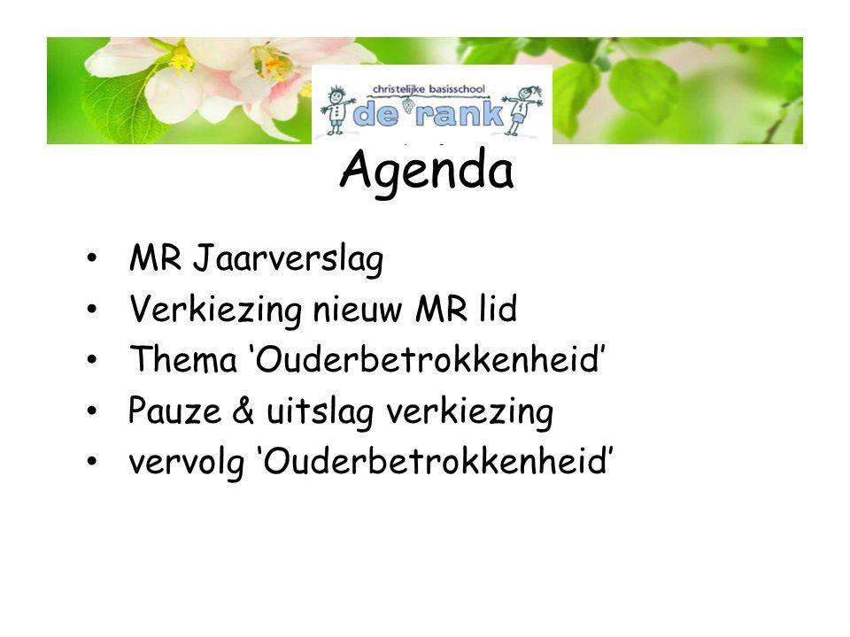 Agenda MR Jaarverslag Verkiezing nieuw MR lid Thema 'Ouderbetrokkenheid' Pauze & uitslag verkiezing vervolg 'Ouderbetrokkenheid' MR