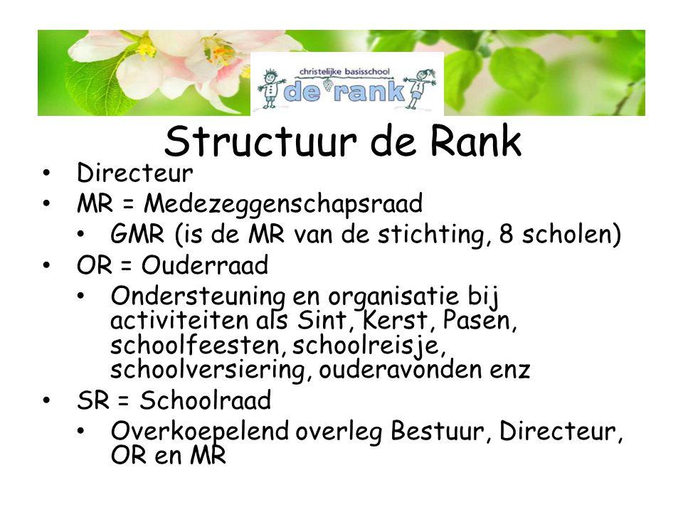 Structuur de Rank Directeur MR = Medezeggenschapsraad GMR (is de MR van de stichting, 8 scholen) OR = Ouderraad Ondersteuning en organisatie bij activ