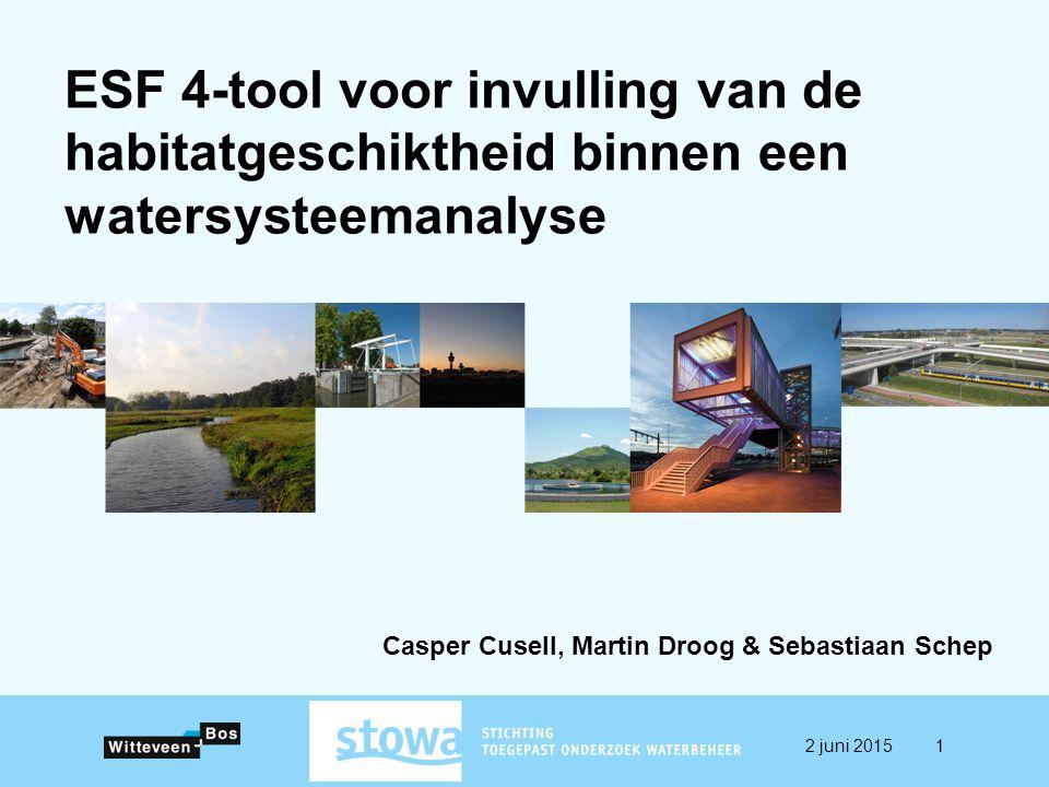 ESF 4-tool voor invulling van de habitatgeschiktheid binnen een watersysteemanalyse Casper Cusell, Martin Droog & Sebastiaan Schep 2 juni 20151