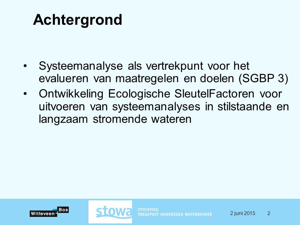 Systeemanalyse als vertrekpunt voor het evalueren van maatregelen en doelen (SGBP 3) Ontwikkeling Ecologische SleutelFactoren voor uitvoeren van systeemanalyses in stilstaande en langzaam stromende wateren Achtergrond 2 juni 20152