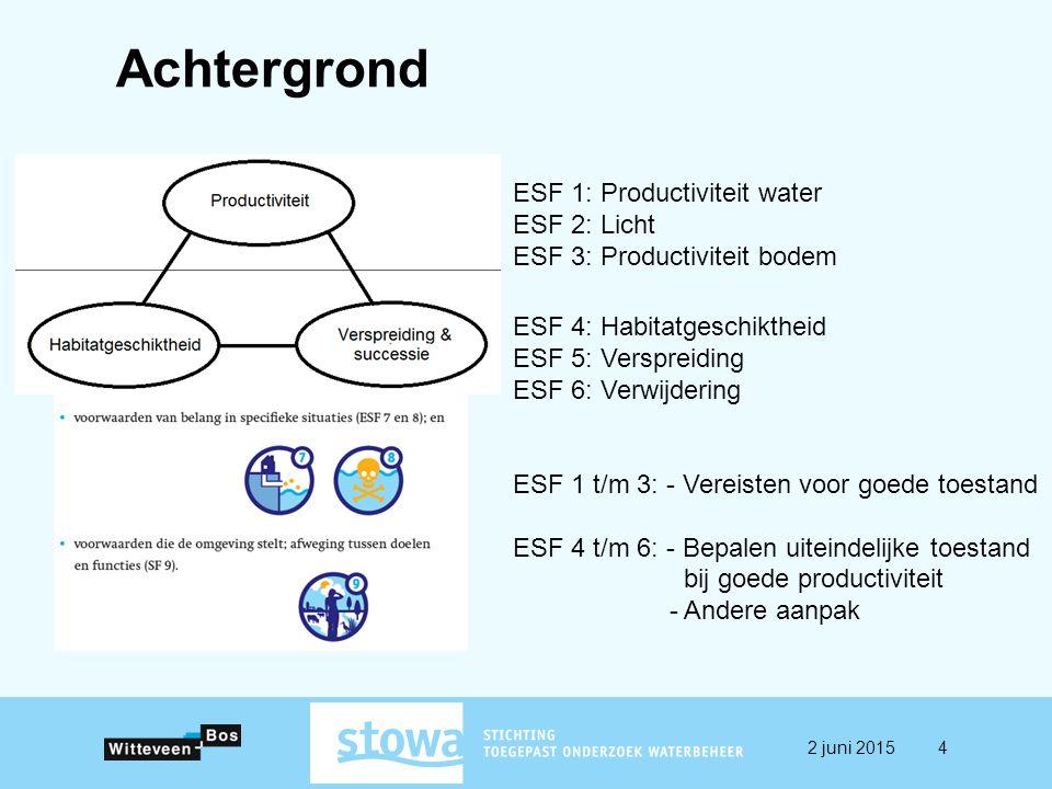 ESF 1: Productiviteit water ESF 2: Licht ESF 3: Productiviteit bodem ESF 4: Habitatgeschiktheid ESF 5: Verspreiding ESF 6: Verwijdering ESF 1 t/m 3: - Vereisten voor goede toestand ESF 4 t/m 6: - Bepalen uiteindelijke toestand bij goede productiviteit - Andere aanpak Achtergrond 2 juni 20154
