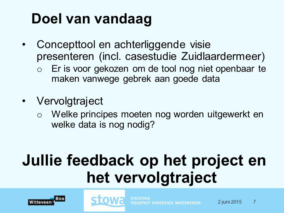 Doel van vandaag Concepttool en achterliggende visie presenteren (incl. casestudie Zuidlaardermeer) o Er is voor gekozen om de tool nog niet openbaar