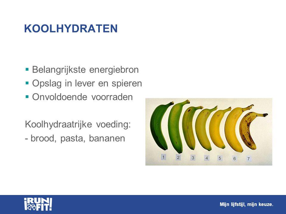 KOOLHYDRATEN  Belangrijkste energiebron  Opslag in lever en spieren  Onvoldoende voorraden Koolhydraatrijke voeding: - brood, pasta, bananen Mijn l