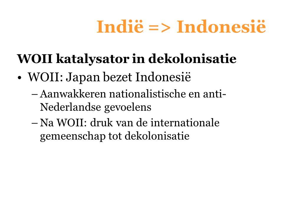 Indië => Indonesië WOII katalysator in dekolonisatie WOII: Japan bezet Indonesië –Aanwakkeren nationalistische en anti- Nederlandse gevoelens –Na WOII