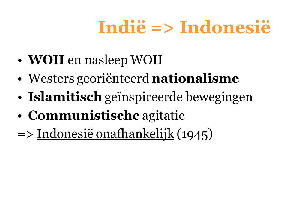 Indië => Indonesië WOII en nasleep WOII Westers georiënteerd nationalisme Islamitisch geïnspireerde bewegingen Communistische agitatie => Indonesië on