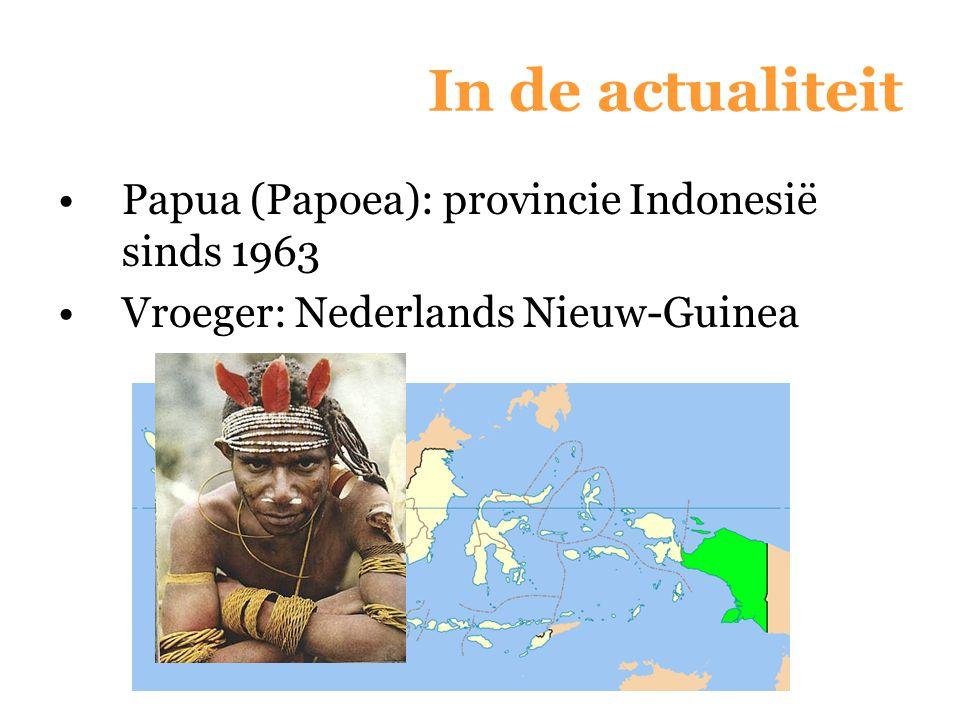 In de actualiteit Papua (Papoea): provincie Indonesië sinds 1963 Vroeger: Nederlands Nieuw-Guinea