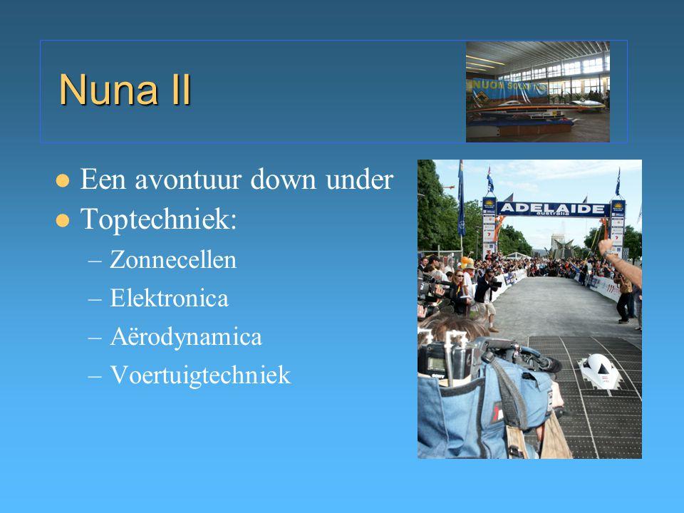 Nuna II Een avontuur down under Toptechniek: –Zonnecellen –Elektronica –Aërodynamica –Voertuigtechniek