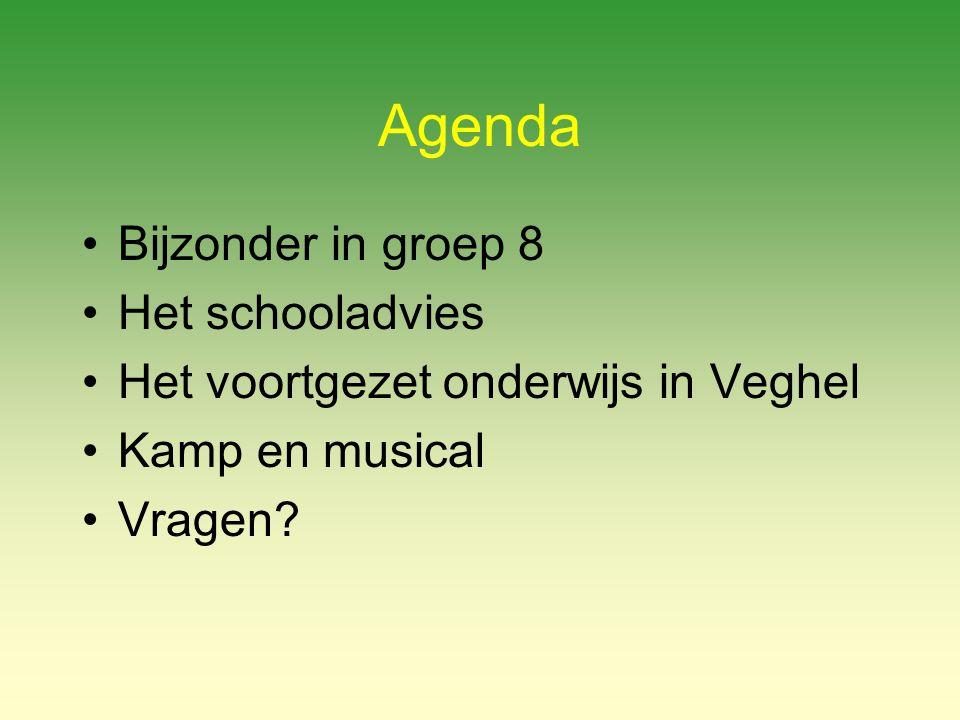 Agenda Bijzonder in groep 8 Het schooladvies Het voortgezet onderwijs in Veghel Kamp en musical Vragen?